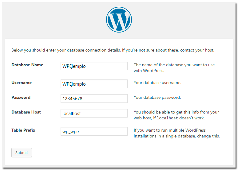tutorial instalación wordpress datos bd